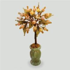 Дерево из желтого агата в вазочке из оникса
