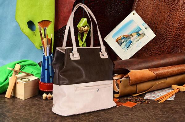Бежево-коричневая сумка из коллекции Nino Fascino