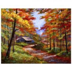 Картина-раскраска по номерам на холсте Дом в осеннем лесу