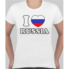 Женская футболка I love Russia
