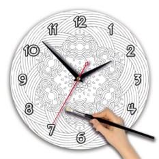 Круглые часы-раскраска Орнамент