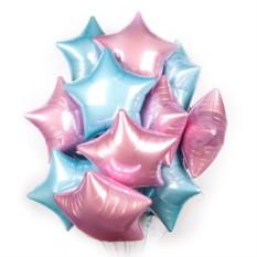 Фольгированные шары Облако розовых и голубых звезд