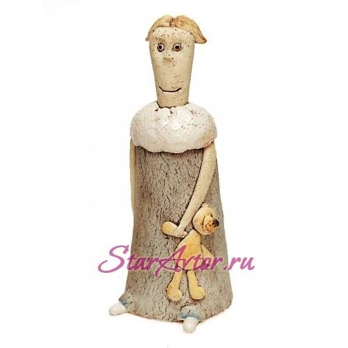 Авторская работа из керамики АНГЕЛ с мишкой