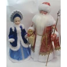 Набор Дед Мороз в красной шубе и Снегурочка в синей шубе