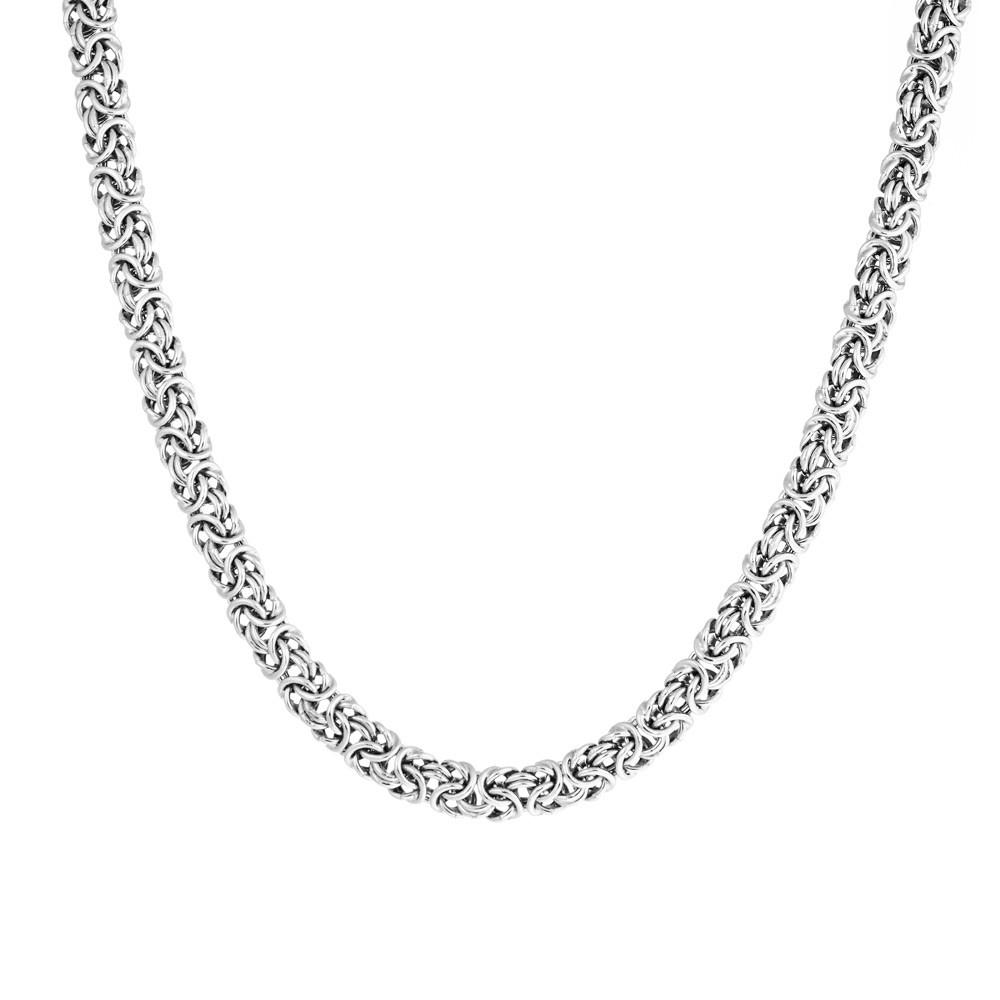 Мужская цепь из родированного серебра Византина овальная