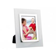 Серебристая с белым рамка для фотографии 10х15 см