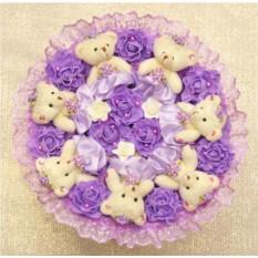 Фиолетовый букет Романтика из розочек и мишек
