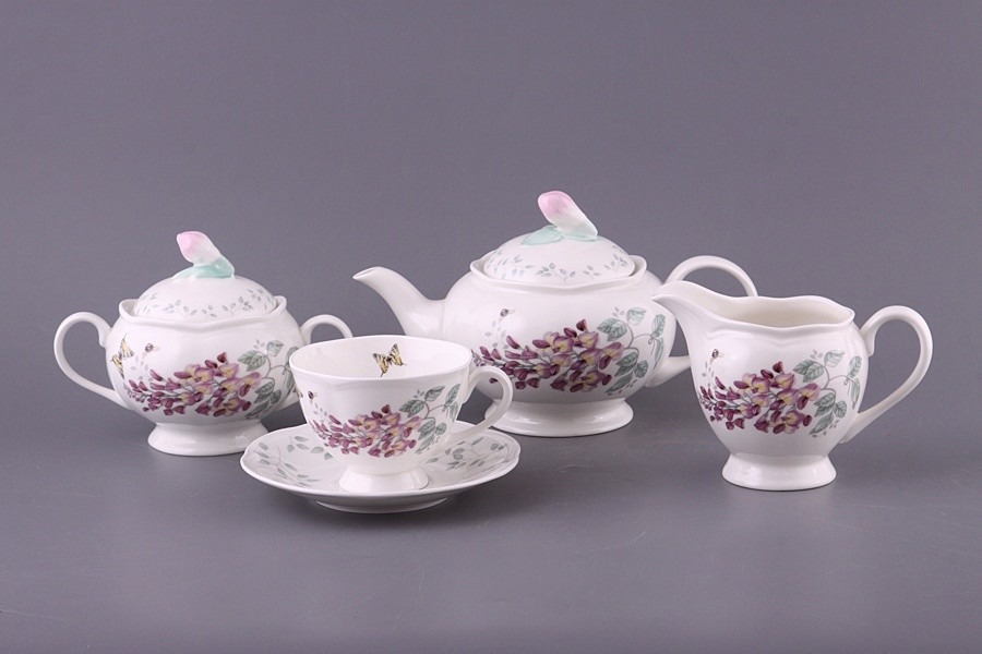 Чайный сервиз на 6 персон, цветы и бабочки