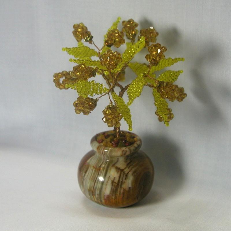 Дерево счастья из цитрина в вазочке из оникса