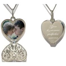 Серебряный медальон с фотографией внутри Сердечко