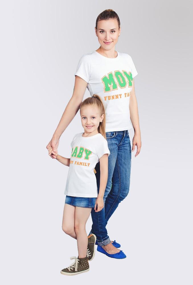 Комплект белых футболок Family для мамы и ребенка