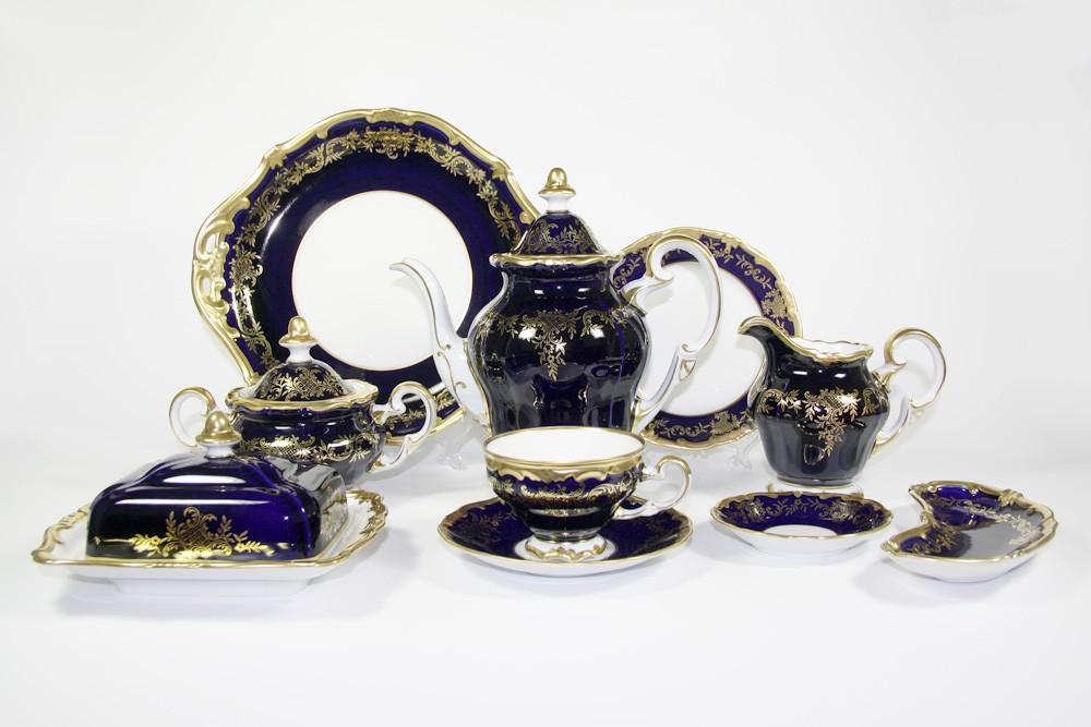 Фарфоровый чайный сервиз на 12 персон Ювел синий