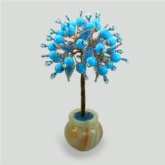 Дерево из бирюзы Маат ввинтажном стиле ввазочке из оникса