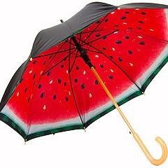 Механический зонт-трость с деревянной ручкой «Арбуз»
