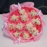Букет из игрушек Бархатные розовые мишки