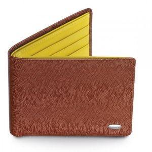 Коричневое с желтым малое портмоне для мужчин