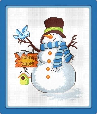 Набор для вышивания Снеговик с птичкой