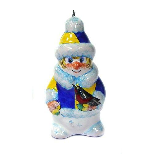 Ёлочная игрушка Снеговик со снегирем