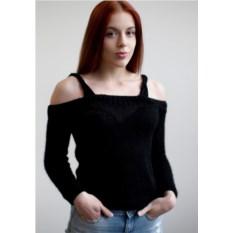 Черный свитер с открытыми плечами