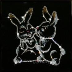 Картина с кристаллами Сваровски Крольчата