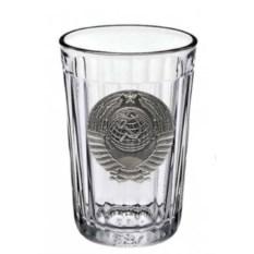 Граненый стакан с оловянным барельефом «Советский. Герб»