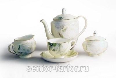 Чайный сервиз Bristol (Белые розы) на 6 персон