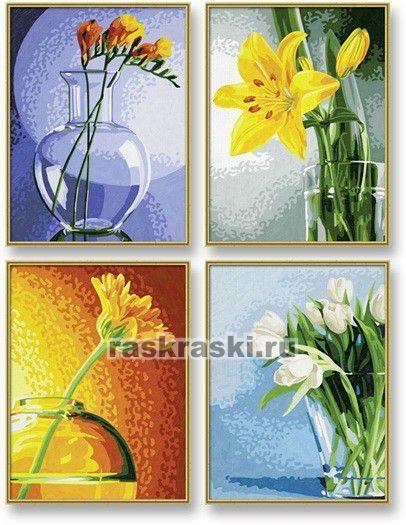 Раскраска по номерам Schipper Цветы 4 шт (18 х 24 см)