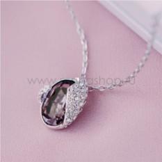 Кулон с кристаллом Сваровски цвета бордо «Бутон»