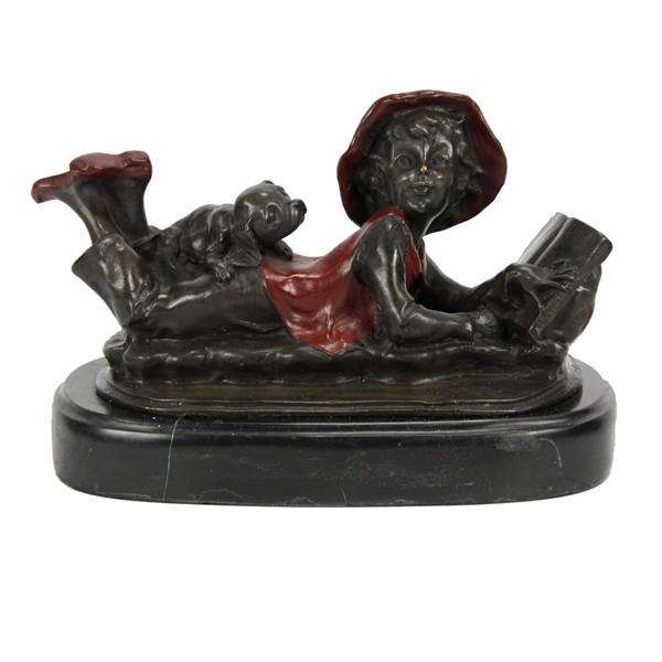 Бронзовая статуэтка Девочка с книжкой и собачкой
