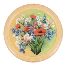 Панно из каменной крошки на тарелке Полевые цветы (40 см)