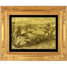 Гравюра из золота 15-16 века с изображением рыбаков и гигантской рыбы