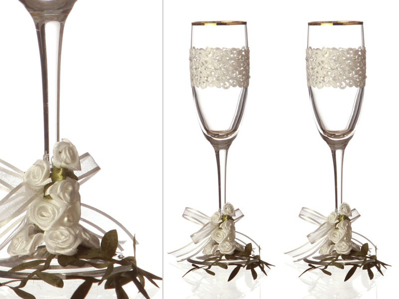 Бокалы для шампанского 2 шт. золотая кайма 170 мл.