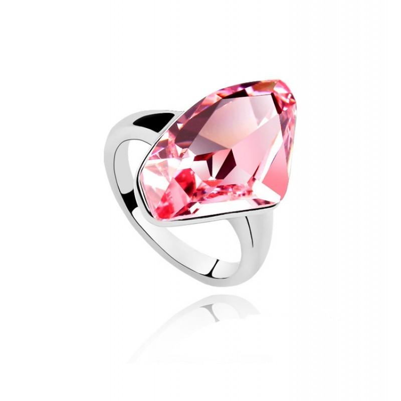 Кольцо с розовым камнем Сваровски «Кристалл»