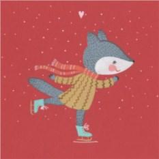 Открытка Лисичка на коньках