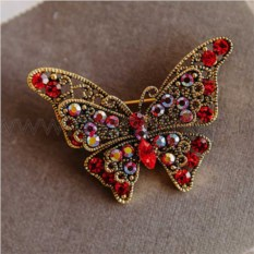 Брошь «Красная бабочка» с кристаллами Swarovski