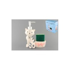 Дозатор для мыла и губка Кот