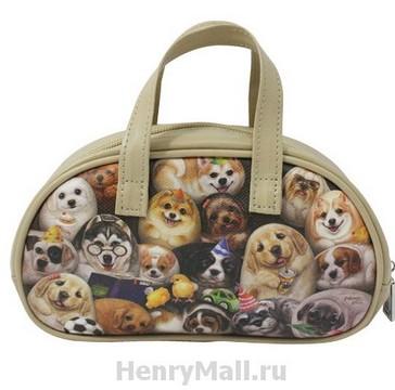 Косметичка с ручками (сумочка) с кошечками «Собачки Генри»