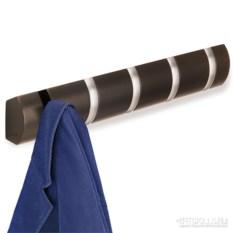 Шоколадная настенная вешалка на 5 крючков Flip