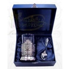 Подарочный чайный набор: никелированный подстаканник С Юбилеем 65 лет!