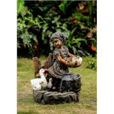 Декоративный фонтан для дачи Девочка и утки