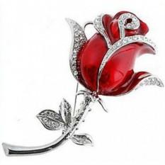 Флешка-брошь Роза со стразами на стебле