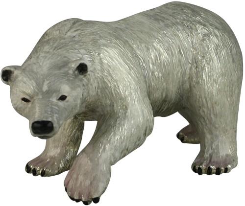 Серебряный сувенир Белый медведь, с эмалью