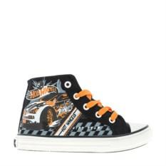 Черные с оранжевыми шнурками кеды Hot Wheels