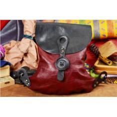 Черно-бордовый кожаный рюкзак ручной работы LUNA
