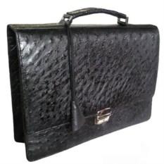 Мужской портфель из кожи страуса (цвет: черный)