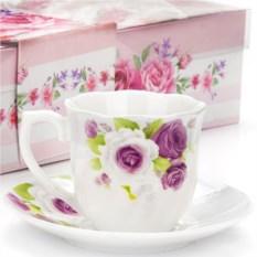 Кофейный набор из фарфора с цветами на 6 персон Lorain