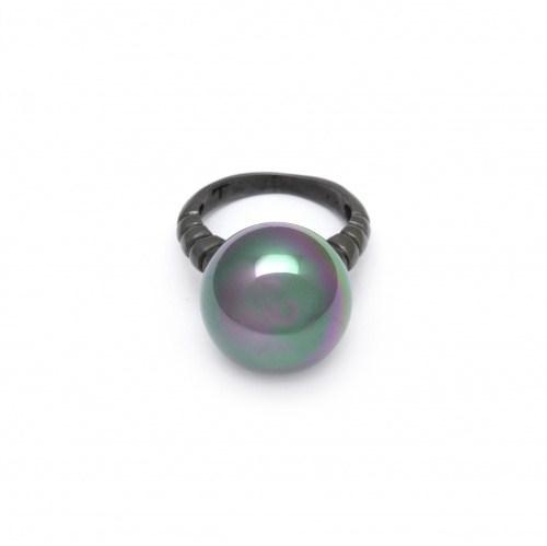 Серебряное кольцо с искусственной черной жемчужиной