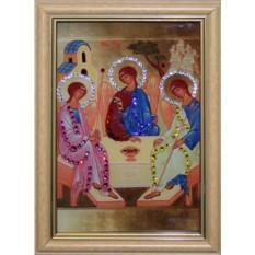 Икона с кристаллами Сваровски Святой Троицы