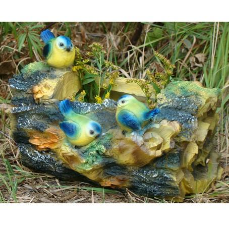 Кашпо Три птички на бревне