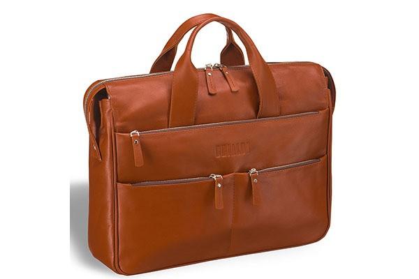 Вместительная рыжая деловая сумка Brialdi Manchester
